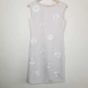 TAHARI Sleeveless Linen Lined Embroidered Dress